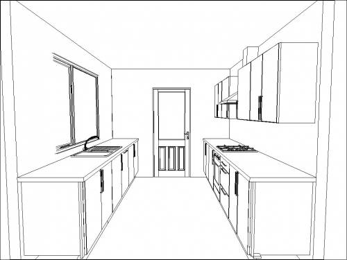 3D CAD image of the Galley kicthen layout