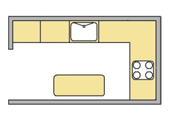 flat image of the Island kicthen layout