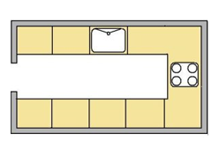 flat image of the U Shape kicthen layout